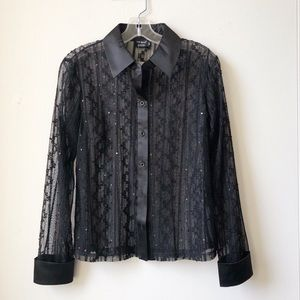 TRIBAL | Lace Button Down Blouse in Black NWT